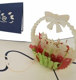 Pop up birthday card, flower arrangement (blue)
