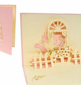 Pop up greeting card, stork at window (girl)