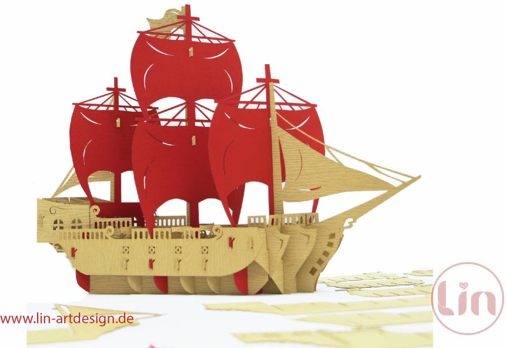 3D Pop Up Puzzle, Piratenschiff (rot)