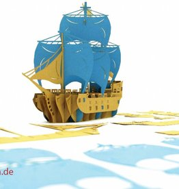3D Pop Up Puzzle, Piratenschiff (blau)