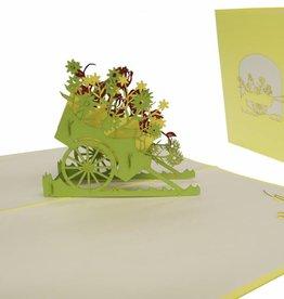 Pop Up Grußkarte, Blumenwagen (gelb)