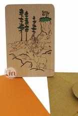 Grußkarte aus Holz, Berglandschaft