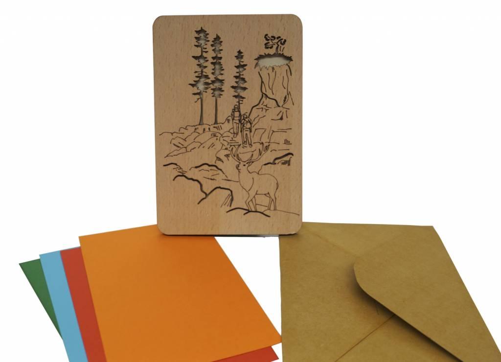 Wood greeting card, Hiking coupon