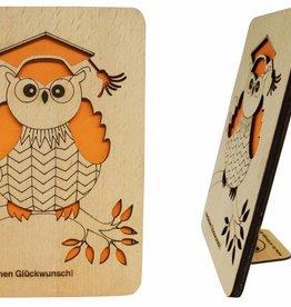Grußkarte aus Holz, Glückwunschkarte, Geburtstagskarte, Doktur Eule, N601