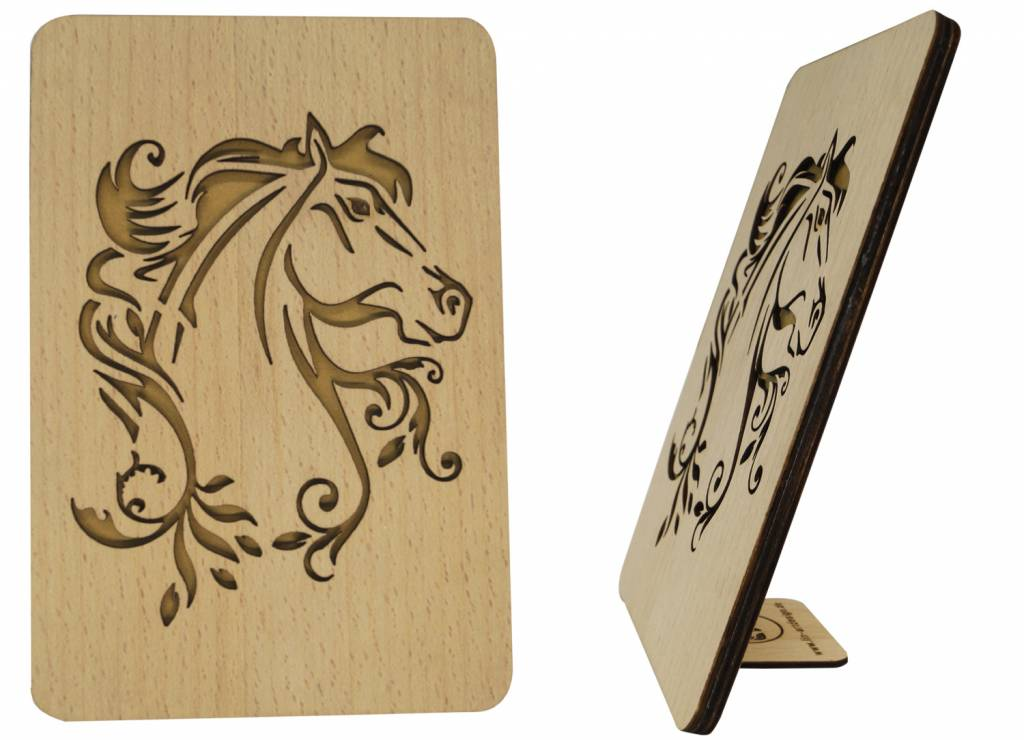 Wood greeting card, Horse