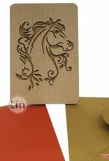 Grußkarte aus Holz, Pferd