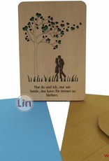 Wood greeting card, Couple on a meadow