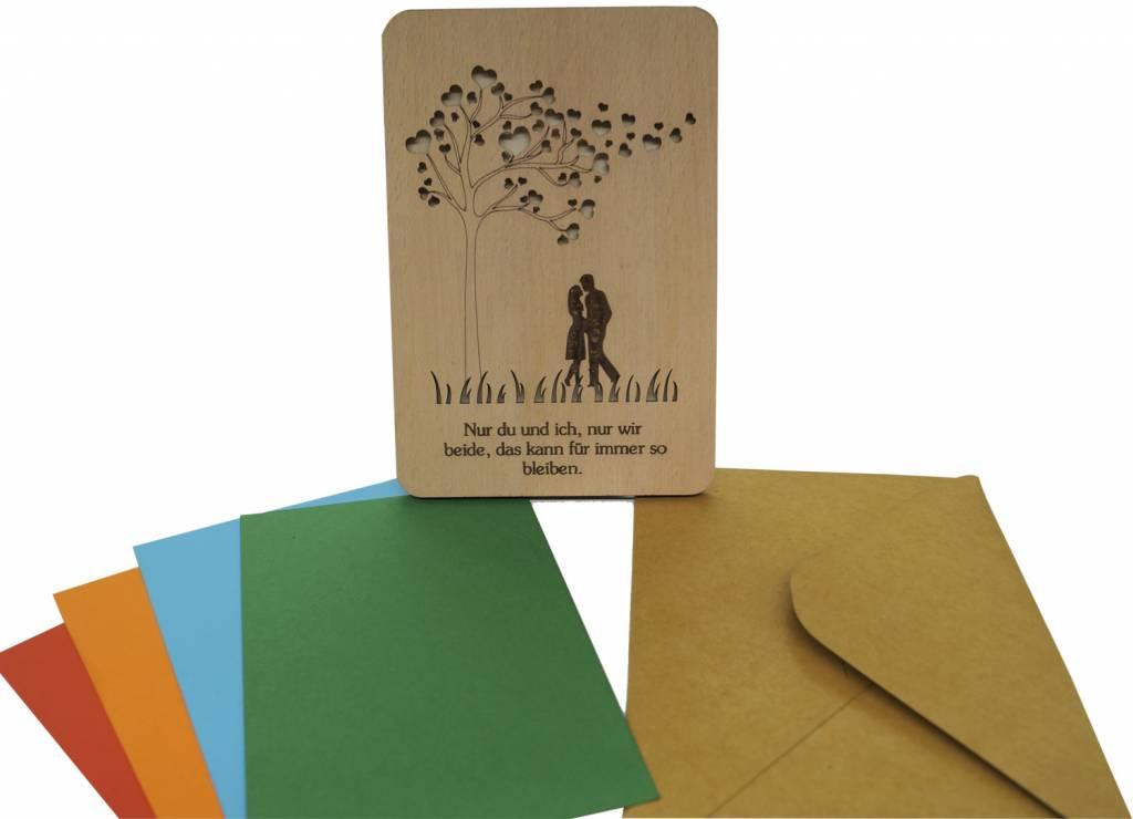 Holz Grußkarte, Valentinskarte, Hochzeitskarte, Liebe, Herz, N602