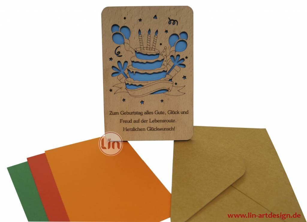 Wood greeting card, Birthday cake