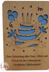 Grußkarte aus Holz, Geburtstagstorte