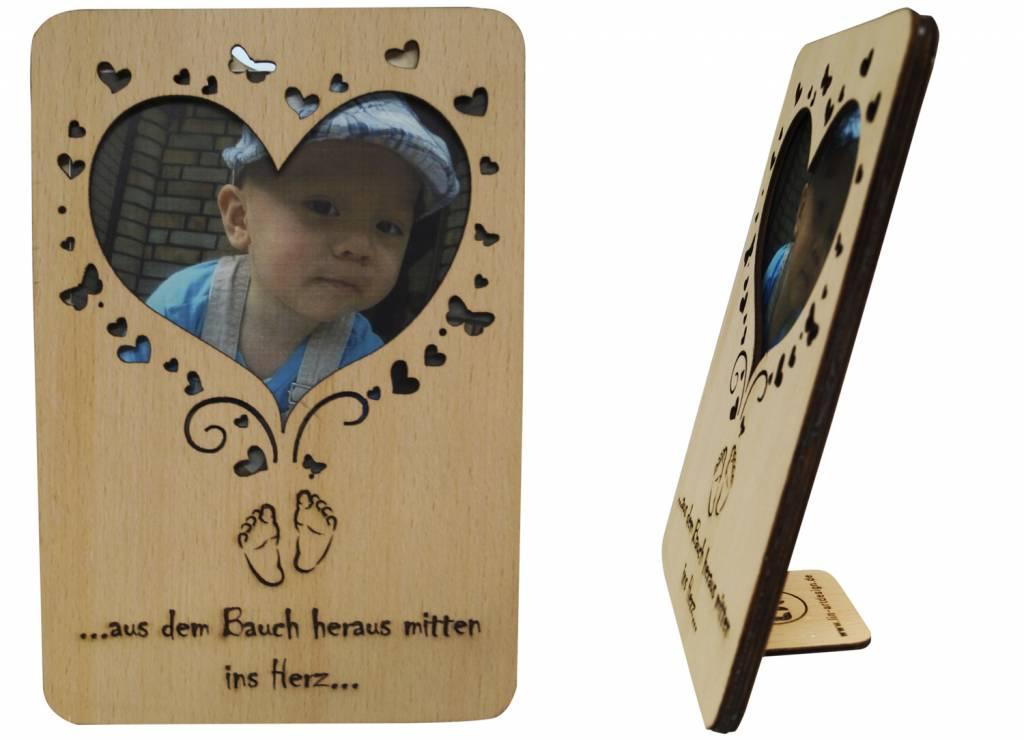 Grußkarte aus Holz, Geburtsglückwünsche