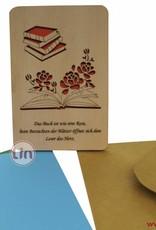 Grußkarte aus Holz, Glückwunschkarte, Geburtstagskarte, Buch Gutschein, N605