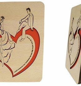 Wood greeting card, Bridal pair sitting on heart