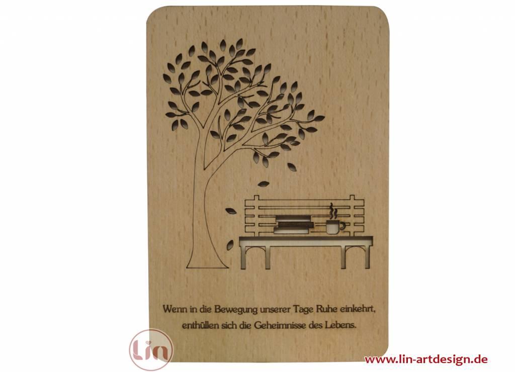 Grußkarte aus Holz, Parkbank und Ruhe