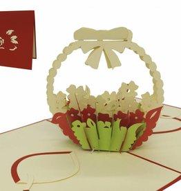 Pop Up Geburtstagskarte, Blumengesteck (rot)