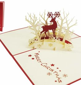Pop Up Karte, Reindeer in forest
