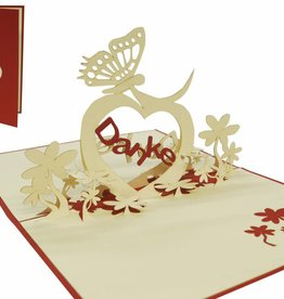"Pop up greeting card, ""Danke"" with butterfly and heart (red)"