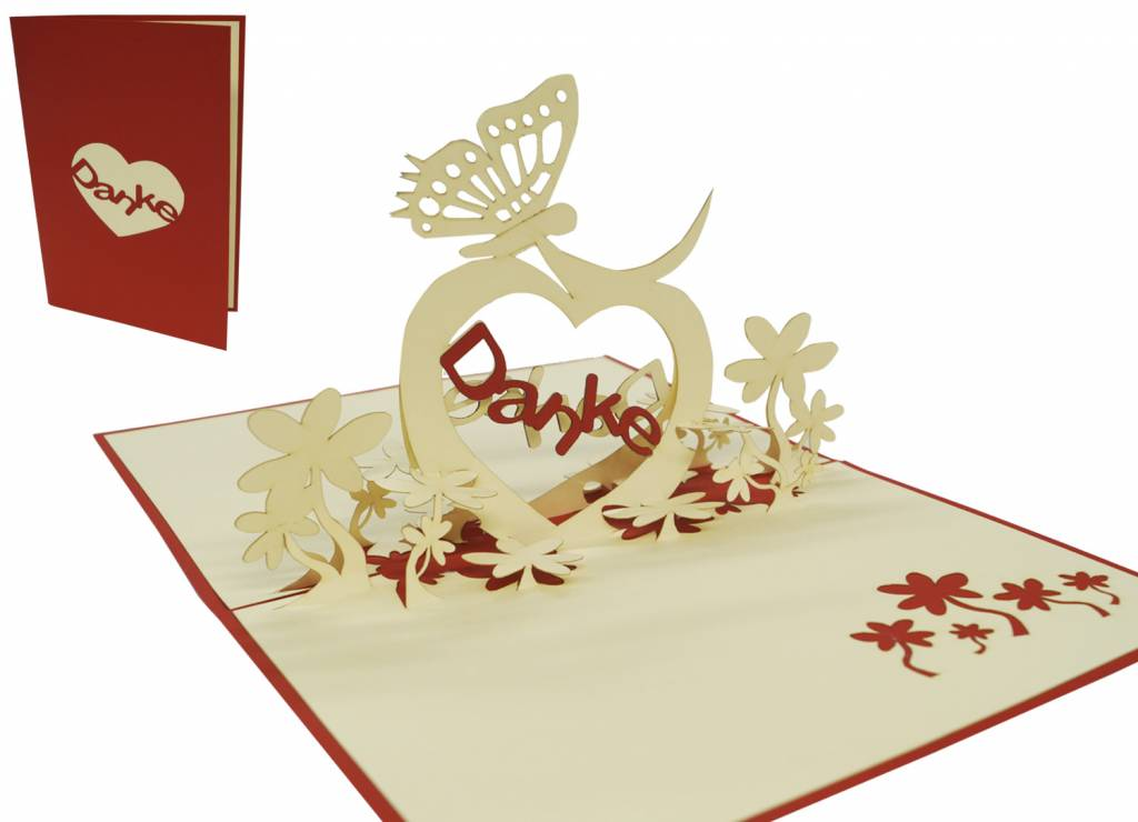 """Danke"" with butterfly and heart (red)"