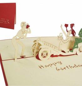 Pop Up Grußkarte, Feier mit Oldtimer (rot)