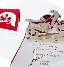 Pop Up Karte, Motorrad mit Landkarte