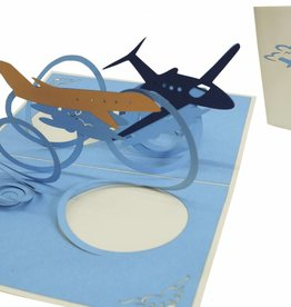 Pop up greeting card, rising planes