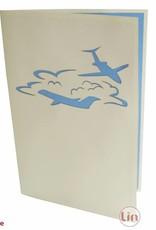 Pop Up 3D Karte, Geburtstagskarten,Glückwunsch karte, Reisegutschein, Flugzeuge, N149