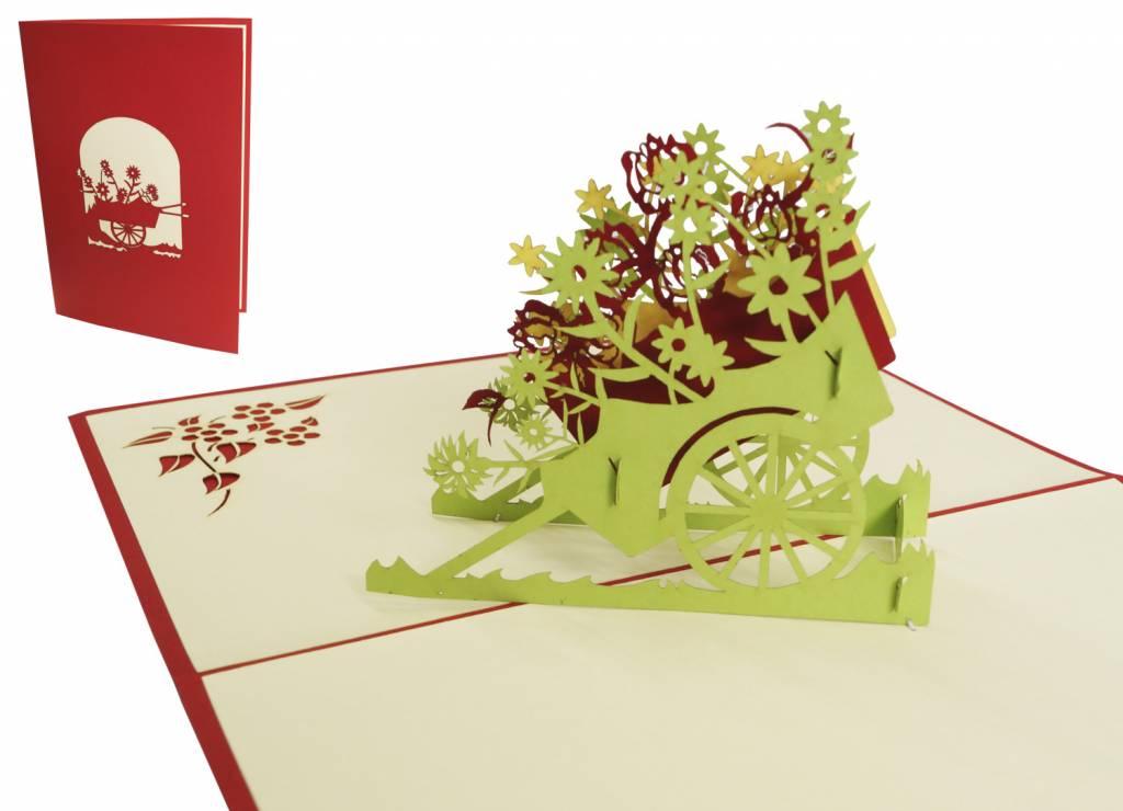 Pop Up 3D Karte, Geburtstagskarte, Glückwunschkarte Muttertag, Bunte Blumen, N52