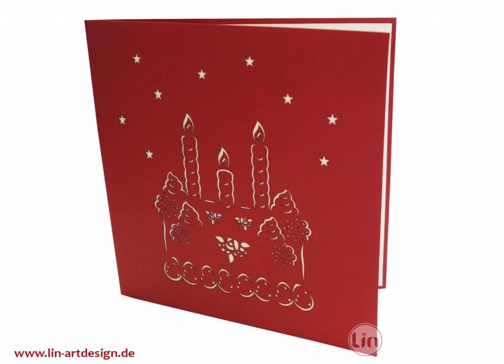 Pop Up 3D Karte, Geburtstagskarte, Glückwunsch Karte, Einladung, Torte, N130
