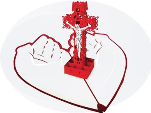 Pop Up greeting card, Heart cross