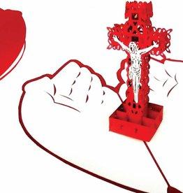 Pop Up Grußkarte, Herz Kreuz