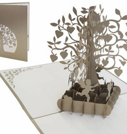 Pop up wedding card, tree with hearts (silver)