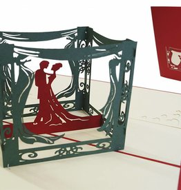 Pop up wedding card, bridal pair inside a pavilion