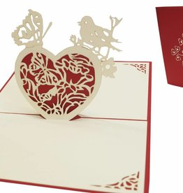 Pop Up Grußkarte, Herz mit Schmetterling und Vogel