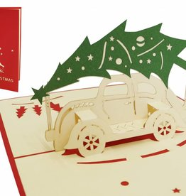 Pop up christmas card, christmas tree on oldtimer