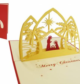 Pop up christmas card, Christmas crib