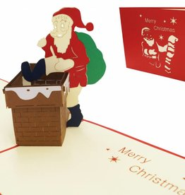 Pop up Christmas card, Santa inside chimney (EN)