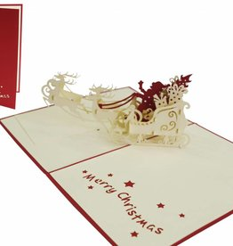 Pop up Christmas card, Santa with sled