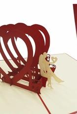 Pop Up 3D Karte, Hochzeitskarte, Hochzeitseinladung, Valentinskarte, Paar Herz, N264