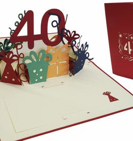 Pop up birthday card 40th birthday (red)