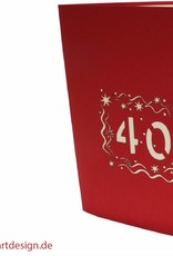 POP UP 3D birthday card to your 40th birthday red (Nr. 19)