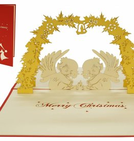 Pop up christmas card, angel below mistle toe