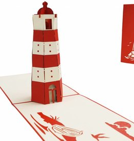 Pop up birthday card, lighthouse (red)