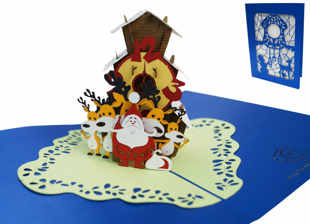 Pop Up Christmas Card, Christmas Clock, Santa Clause and His Reindeer, No. 703