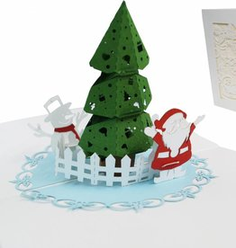 Pop up christmas card, Christmas tree with santa and snowman
