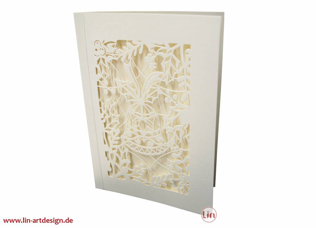 Pop up christmas card, Christmas bells with angels, christmas gift or invitation, 3D, No. 704