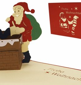 Pop up christmas card, Santa inside the chimney