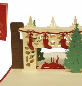 Pop up christmas card, christmas fireplace