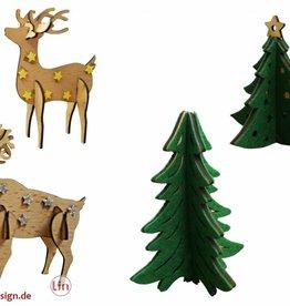 Dekoration - Bastelset Tannenbäume Rentiere
