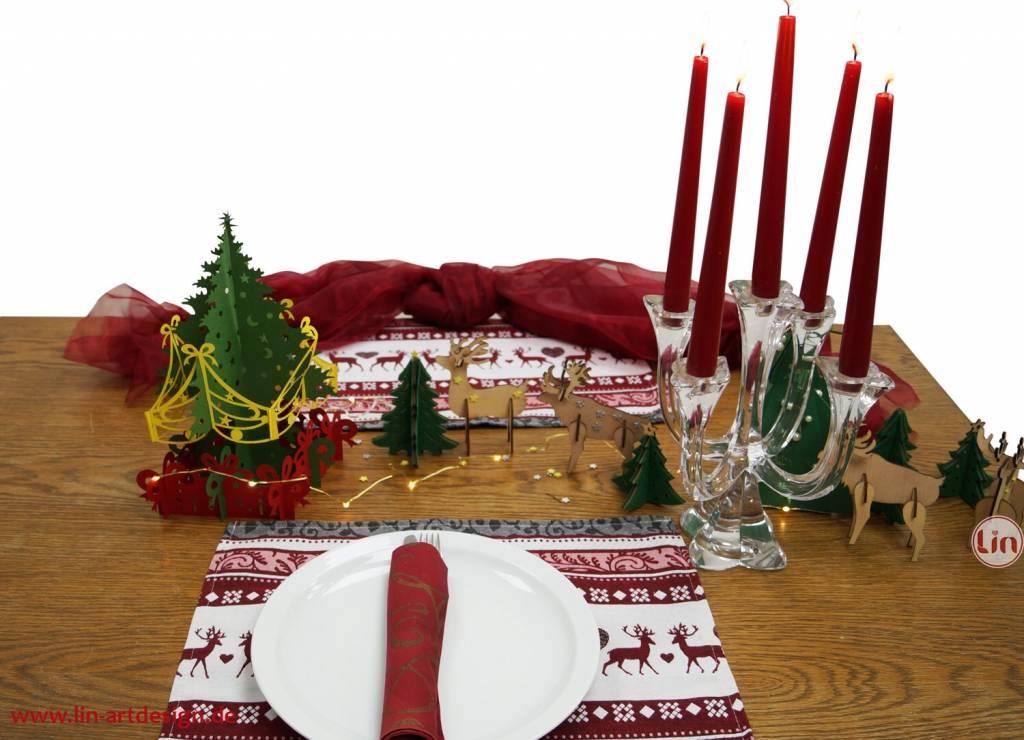 Weihnachtsdekoration, Bastelset Tannenbäume und Rentiere
