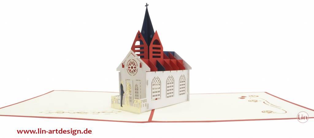 Pop Up Hochzeitskarte, Hochzeitsenladung, Trauung, 3D Klappkarte zur Hochzeit, Hochzeitskirche, Nr. 277